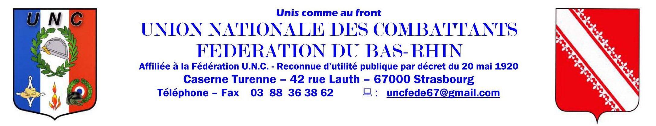 UNION NATIONAL DES COMBATTANTS  Fédération du Bas-Rhin Logo